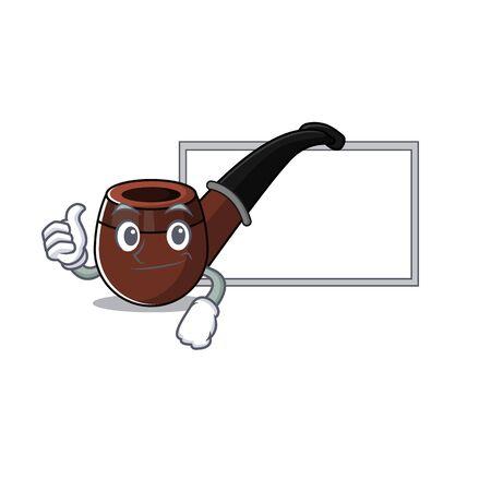 Funny smoke pipe in thumbs up with board cartoon character Illusztráció