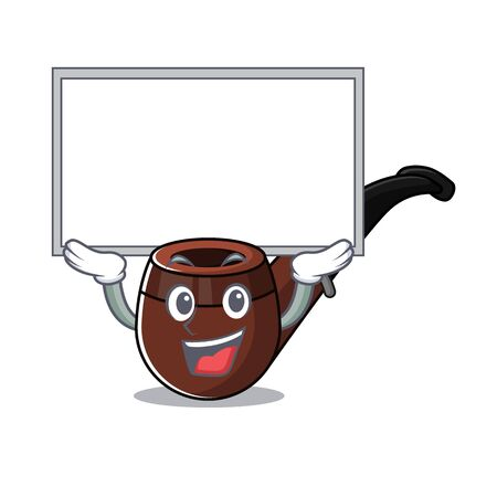 Funny smoke pipe in up board cartoon character