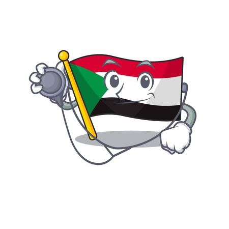 Cheerful doctor cartoon flag sudan with mascot vector illustration