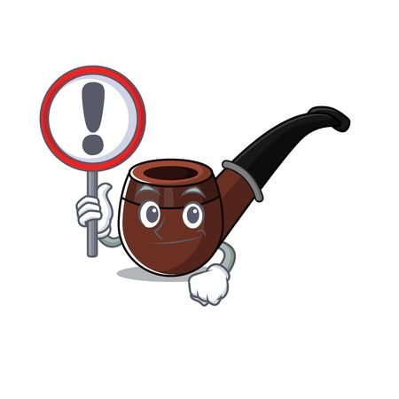 Funny smoke pipe in with sign warning cartoon character