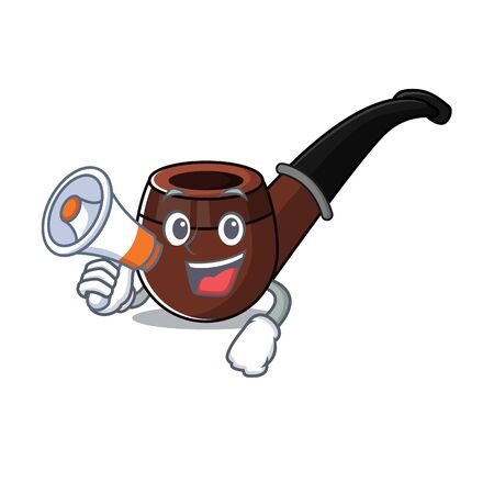 Funny smoke pipe in with holding megaphone cartoon character