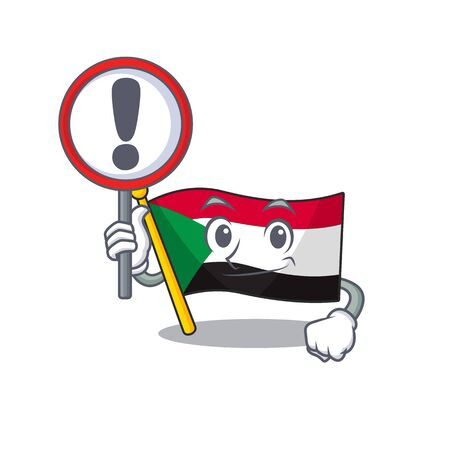 Cheerful with sign warning cartoon flag sudan with mascot vector illustration