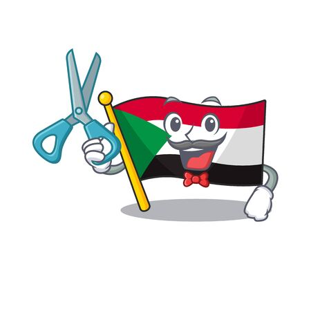 Cheerful barber cartoon flag sudan with mascot vector illustration