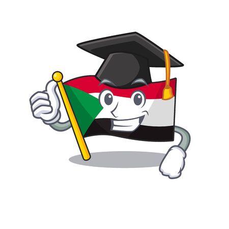 graduation hat flag sudan with mascot funny cartoon vector illustration Stok Fotoğraf - 133447601