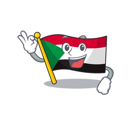 okay flag sudan with mascot funny cartoon vector illustration Stok Fotoğraf - 133447605