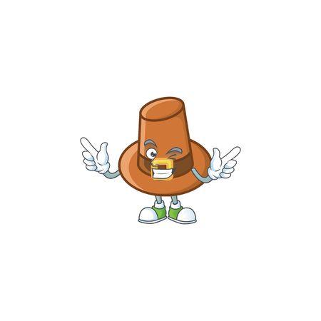 Cute brown pilgrim hat in wink mascot. Vector illustration