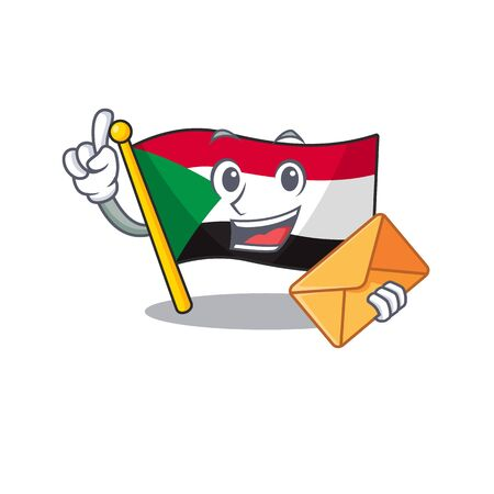bring envelope flag sudan with mascot funny cartoon vector illustration Ilustracja