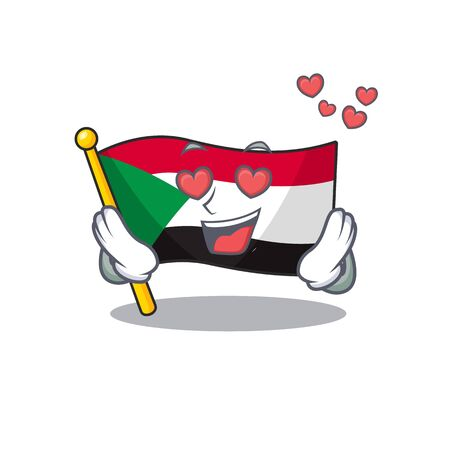 flag sudan character in cartoon shape in love vector illustration Çizim