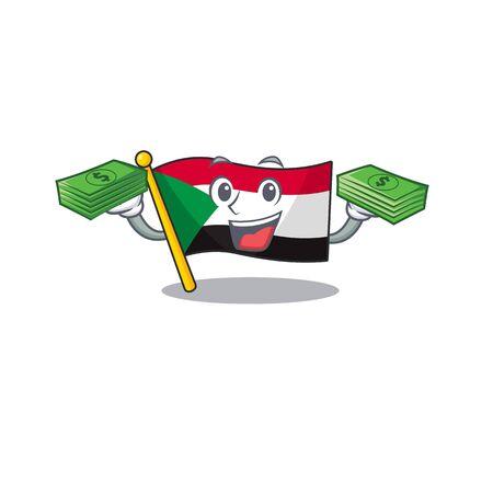 flag sudan character in cartoon shape holding money vector illustration