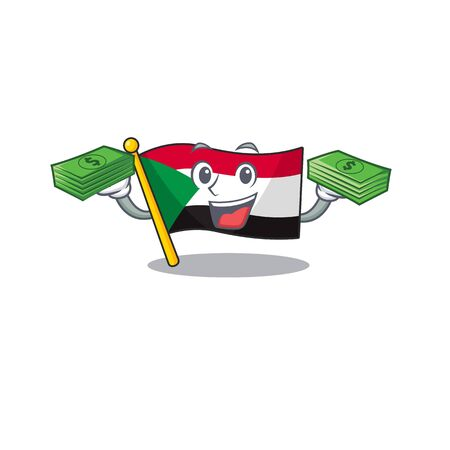 flag sudan character in cartoon shape holding money vector illustration
