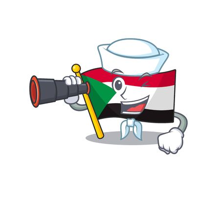 flag sudan character in cartoon shape sailor holding binocular vector illustration