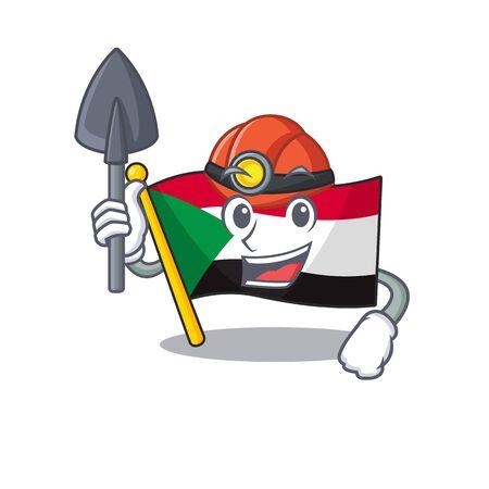 flag sudan character in cartoon shape miner