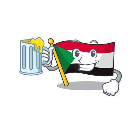 flag sudan character in cartoon shape holding juice Çizim