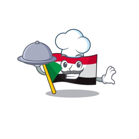 flag sudan character in cartoon shape chef holding food