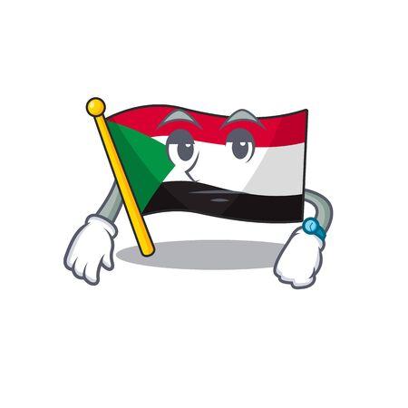Happy smiling flag sudan waiting cartoon character Çizim