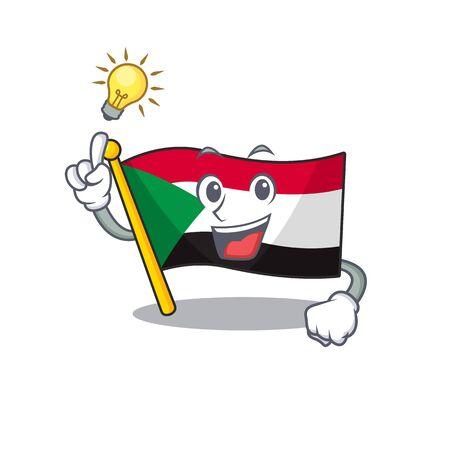 Happy smiling flag sudan have an idea cartoon character