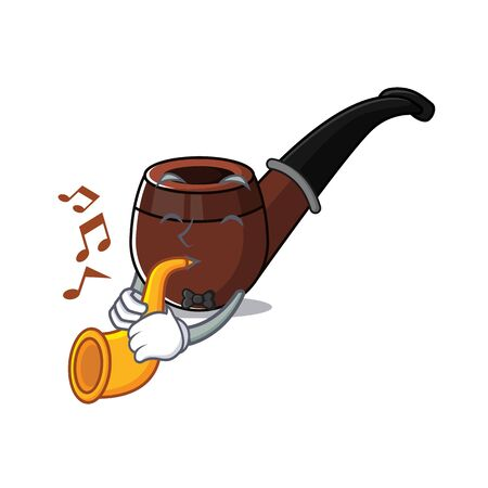 with trumpet cartoon character style with smoke pipe vector illustration 일러스트
