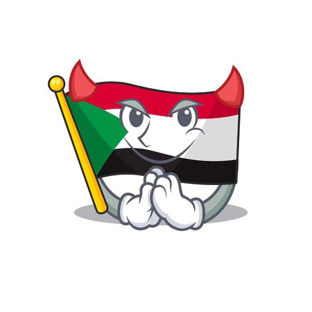 flag sudan character in cartoon shape devil
