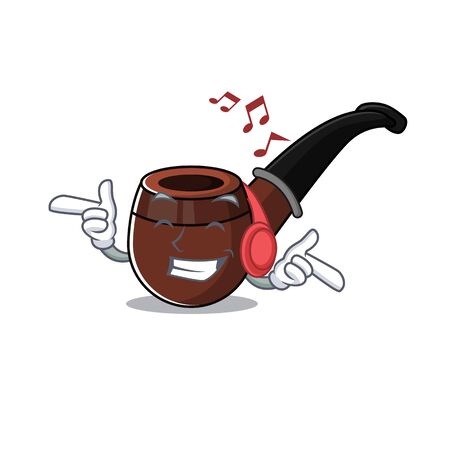 listening music cartoon character style with smoke pipe vector illustration