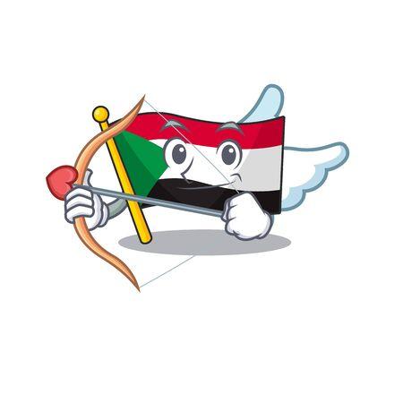 Cheerful cupid cartoon flag sudan with mascot vector illustration