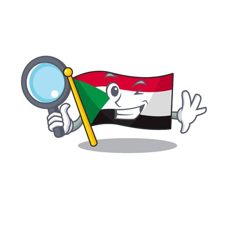 detective flag sudan with mascot funny cartoon vector illustration
