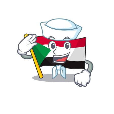Cheerful sailor cartoon flag sudan with mascot vector illustration Ilustracja