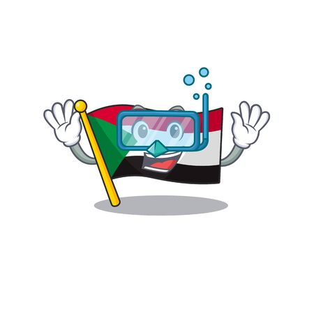 diving flag sudan with mascot funny cartoon vector illustration Stok Fotoğraf - 133447706