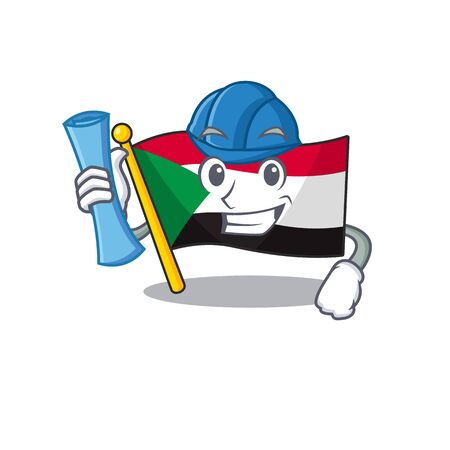 architect flag sudan with mascot funny cartoon vector illustration Stok Fotoğraf - 133447708