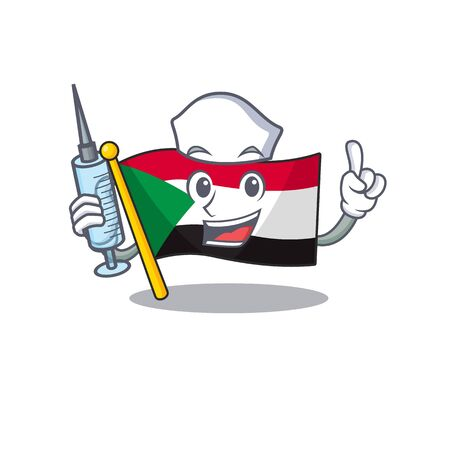nurse flag sudan with mascot funny cartoon vector illustration Stok Fotoğraf - 133447709