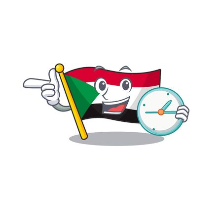 with bring clock flag sudan with mascot funny cartoon vector illustration Stok Fotoğraf - 133447713