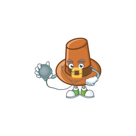 Brown pilgrim hat with the cartoon doctor. Vector illustration Illustration