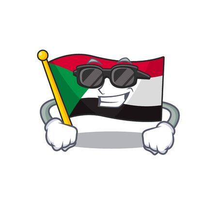 super cool flag sudan with mascot funny cartoon vector illustration Stok Fotoğraf - 133447718