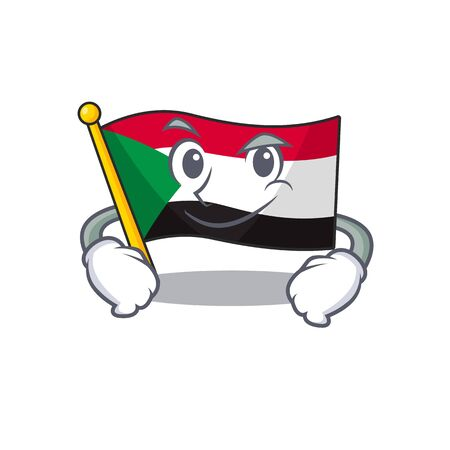 smirking flag sudan with mascot funny cartoon Stok Fotoğraf - 133447721