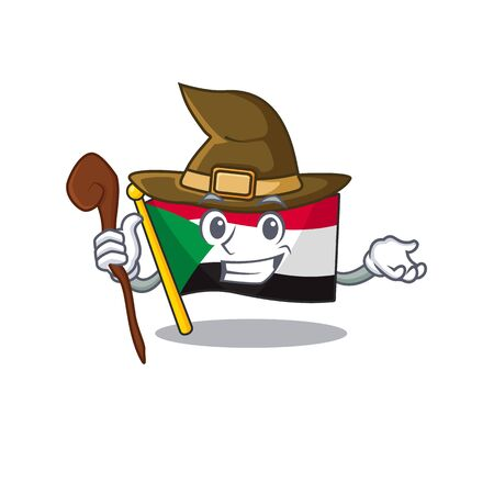 flag sudan character in cartoon shape witch