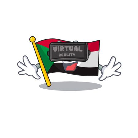 flag sudan character in cartoon shape virtual reality