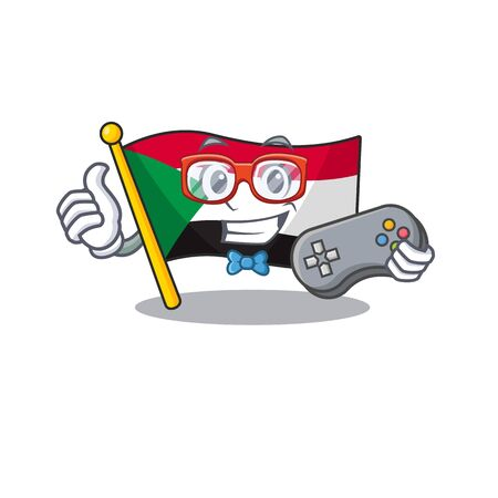 flag sudan character in cartoon shape holding gamer Illustration
