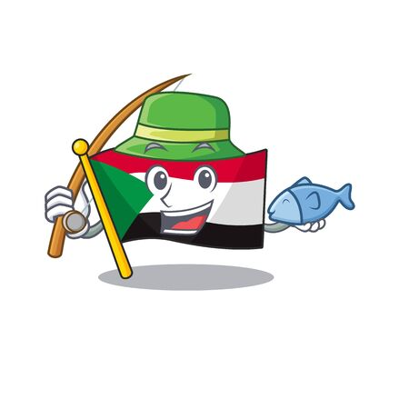 flag sudan character in cartoon shape fishing Illustration