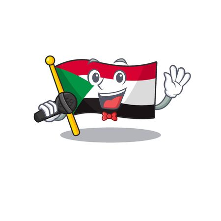 flag sudan character in cartoon shape singing