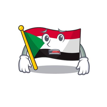 flag sudan character in cartoon shape afraid