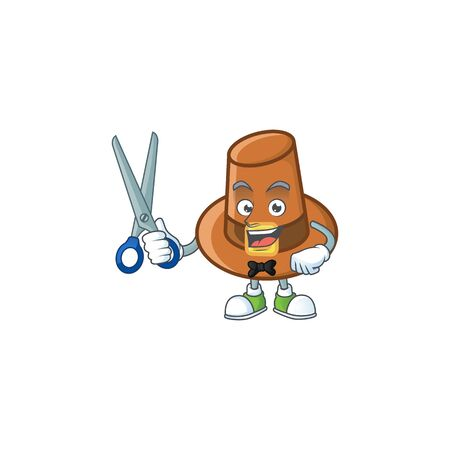 Brown pilgrim hat with the cartoon barber. Vector illustration