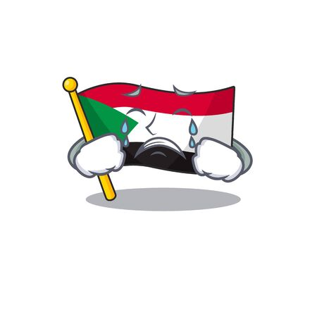 flag sudan character in cartoon shape crying