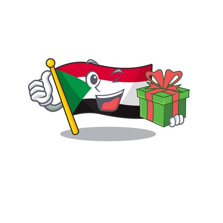 flag sudan character in cartoon shape holding gift