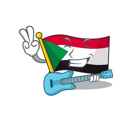 flag sudan character in cartoon shape with guitar Illustration