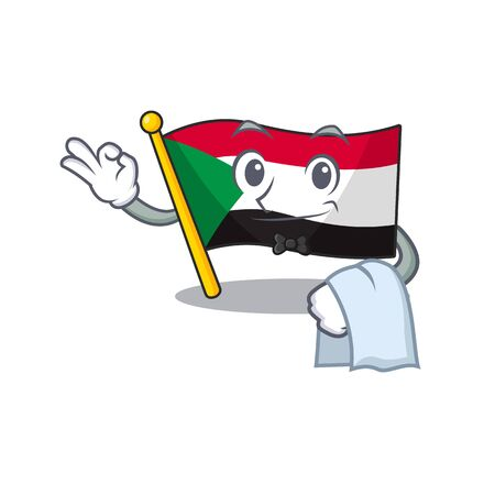 flag sudan character in cartoon shape waiter