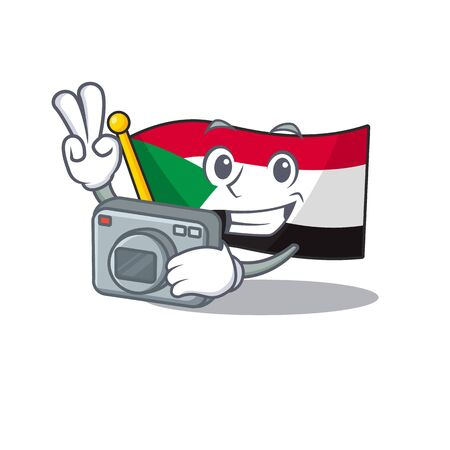 flag sudan character in cartoon shape photographer Illustration