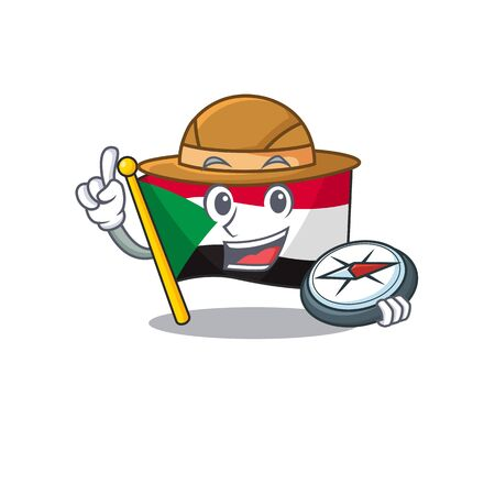 flag sudan character in cartoon shape holding compass