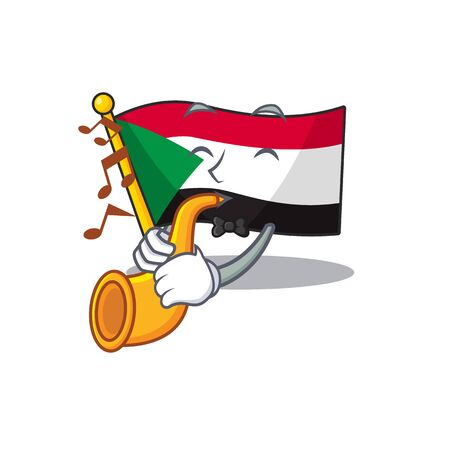 flag sudan character in cartoon shape with trumpet vector illustration