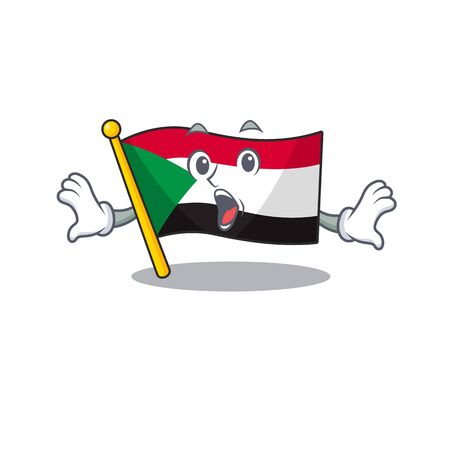 flag sudan character in cartoon shape surprised vector illustration
