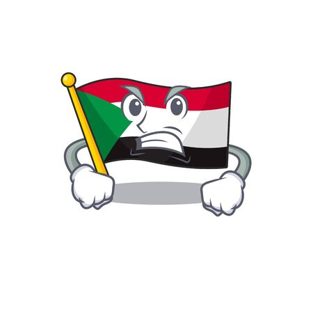 flag sudan character in cartoon shape angry vector illustration