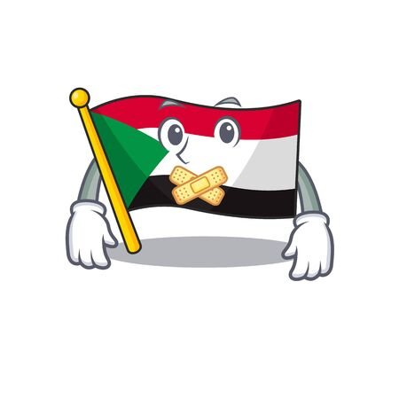 Happy smiling flag sudan silent cartoon character